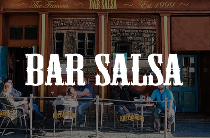 Exterior of Bar Salsa Edinburgh with logo overlay - one of the best bars Edinburgh part of the Old Town Pub Co.