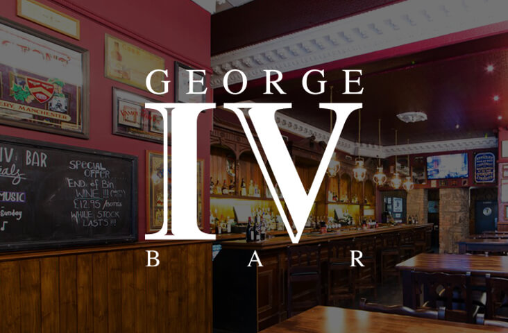 Interior of the George IV Bar Edinburgh with logo overlay - one of the best bars Edinburgh part of the Old Town Pub Co.