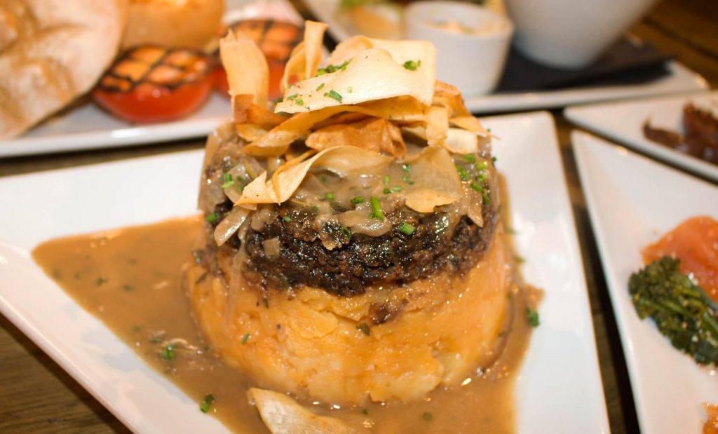Close up of haggis dish at the Royal Mile Tavern Traditional Scottish Bar Edinburgh