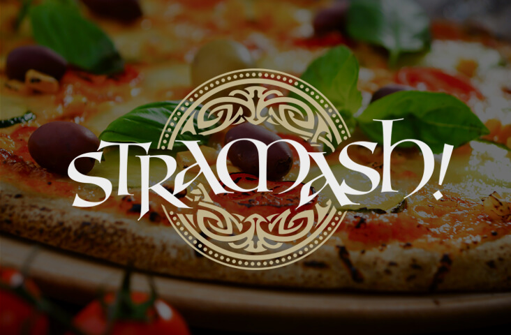 Image of pizza with Stramash Logo - one of the Old Town Pub Co. best restaurants Edinburgh