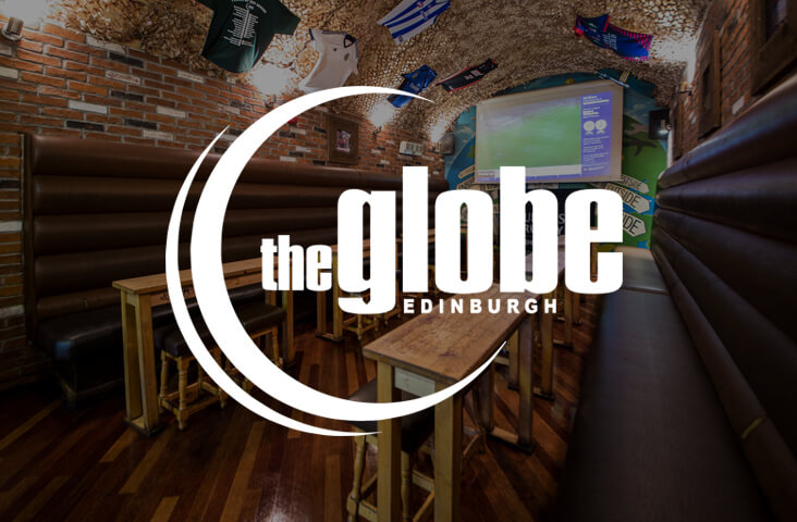 Interior of The Globe bar Edinburgh with logo overlay - one of the best bars Edinburgh part of the Old Town Pub Co.